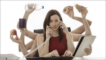 Small pic multitasking woman